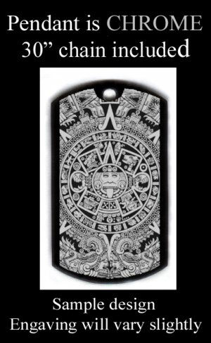 Aztec Calendar Engraved Pendant With Custom Engraved Message