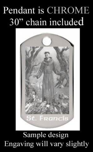 St Francis Engraved Pendant With Free Custom Message