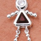 Sterling & CZ Birthstone Kids GIRL Charm JANUARY