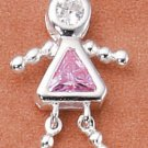 Sterling & CZ Birthstone Kids GIRL Charm OCTOBER