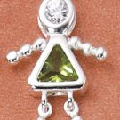 Sterling & CZ Birthstone Kids GIRL Charm AUGUST