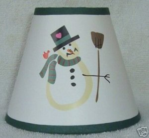 SNOWMAN w/BROOM  Mini Paper Chandelier Lamp Shade