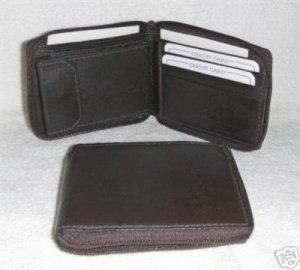Genuine Leather Men's Zip Around Bifold Wallet- #56 BROWN
