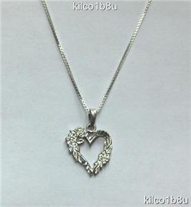Sterling Silver Open Heart w/Flowers Necklace