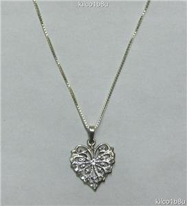 "Sterling Silver ""Butterfly"" Heart Necklace"