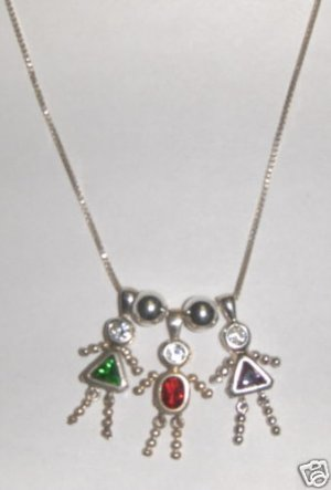 Sterling & CZ Birthstone Kid Necklace w/3 Kids-Children