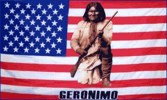 Geronimo on American Flag 3' x 5' Flag
