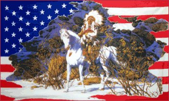 Indian on Horse in the Snow on American 3' x 5' Flag