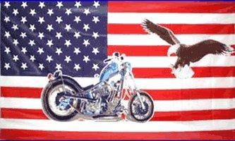 USA Motorcycle with Eagle Flag 3' x 5' Flag