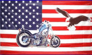 USA Motorcycle with Eagle Flag 3' x 5' Flag