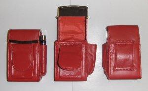 Genuine Leather Hard Cigarette Case - RED