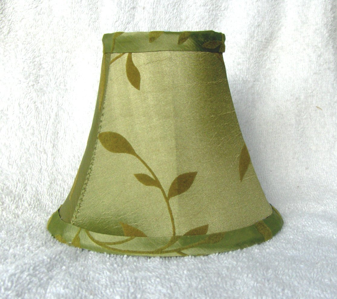 New SAGE w FELT LEAVES Mini Chandelier Lamp Shade