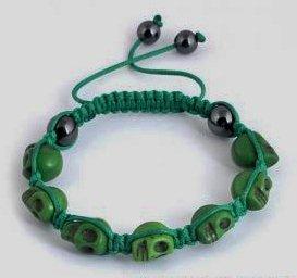 "Green Skull Bracelet or Anklet 8 cool colors to choose from Adjustable 7""-10"""