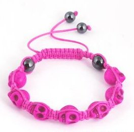 "Hot Pink Skull Bracelet or Anklet 8 cool colors to choose from Adjustable 7""-10"""