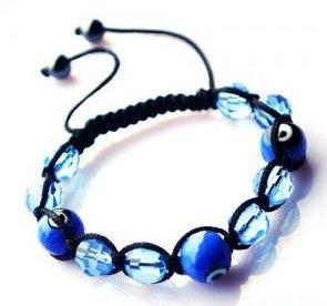 """Blue Evil Eye Beaded Bracelet or Anklet Adjustable 7""""-10"""" avail. in 5 colors"""