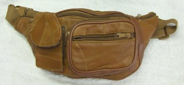Genuine Patch Leather Fanny Pack - #7073 -LIGHT BROWN