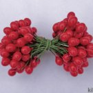 "RED HOLLY BERRIES 1/2"" w-green wire for Holiday decorating #5"