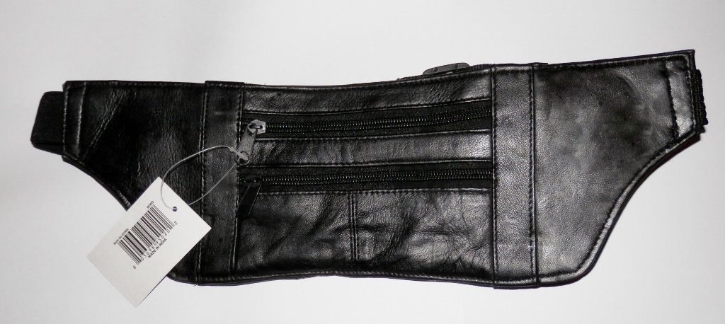 Genuine Lambskin Leather Money Belt/Fanny Pack - #032 BLACK