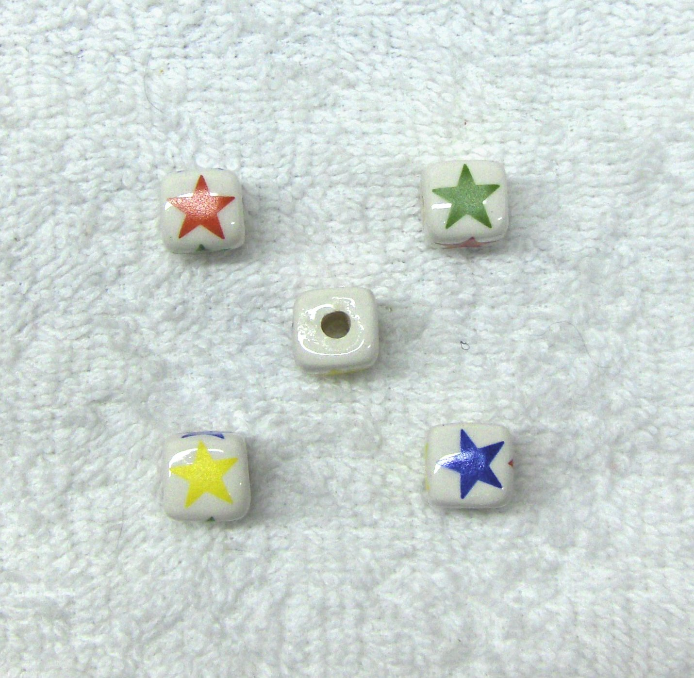 Ceramic 12mm Cube Beads with Colored Stars 36 pcs. No Metal, White