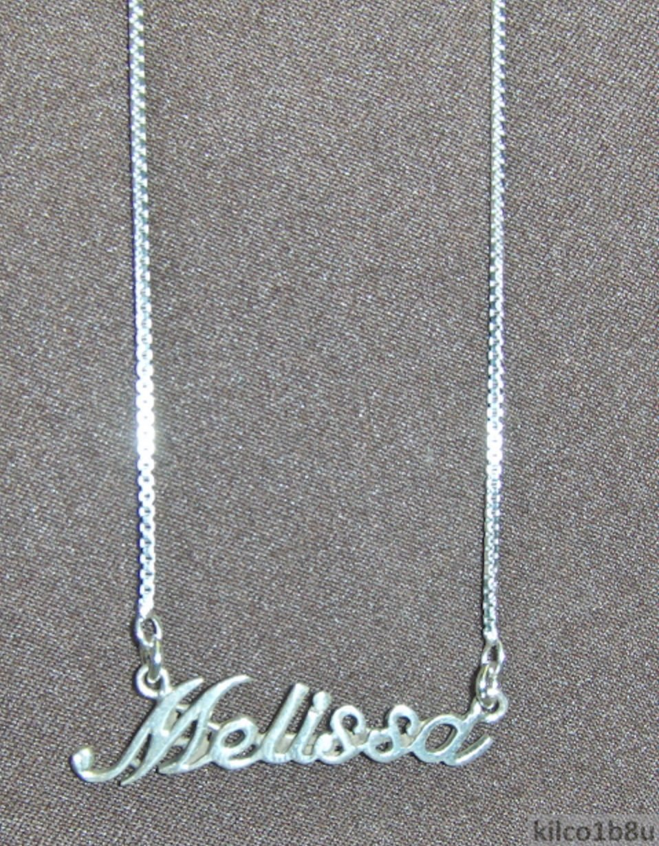 925 Sterling Silver Name Necklace - Name Plate - MELISSA