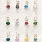 Sterling Silver & Cubic Zirconia Birthstone Charm - Pendants