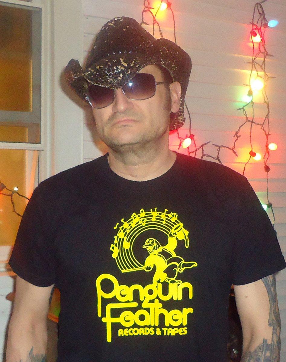 PENGUIN FEATHER RECORDS Black T-Shirt / Yellow Ink SIZE XL washington d.c 9:30 club