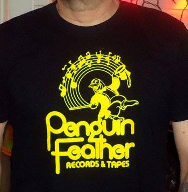 PENGUIN FEATHER RECORDS Premium Sueded Black w/Yellow Ink SIZE L d.c. space 9:30 club