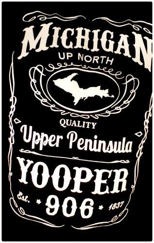 YOOPER Premium Sueded T-Shirt Black - Size 2XL Michigan Upper Peninsula Jack Daniels