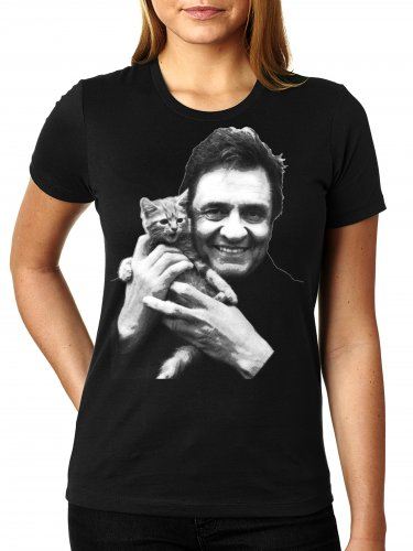 Johnny Cash With Kitten - WOMEN'S T Shirt SIZE L