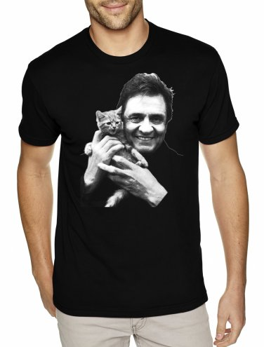 Johnny Cash With Kitten - MEN'S T Shirt SIZE L