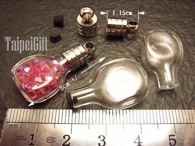 1 Whisky Glass Bottle Vial Charm Pendant DIY NAME ON RICE bead Message Crystal Liquid sand Flake