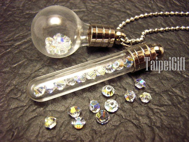 10 Swarovski Crystal White AB coating ready to fill in mini glass bottle vial charms