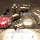 1 Mini Disc Glass Bottle Vial Charm Pendant DIY NAME ON RICE bead Message Crystal Liquid sand Flake