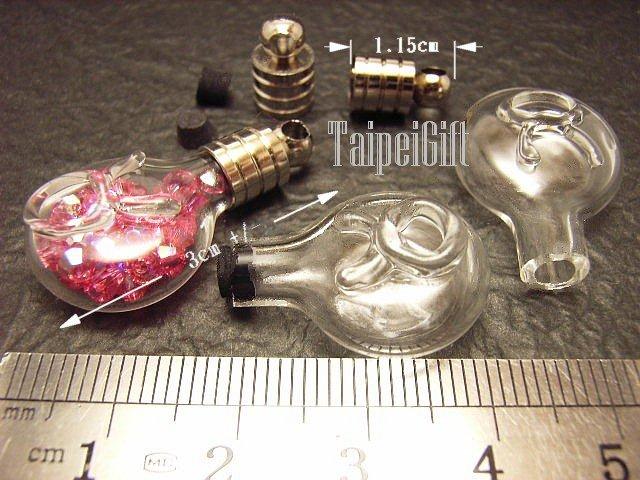 1 Taurus Mini Bottle Vial Charm Pendant DIY NAME ON RICE bead Message Crystal Liquid sand Flake