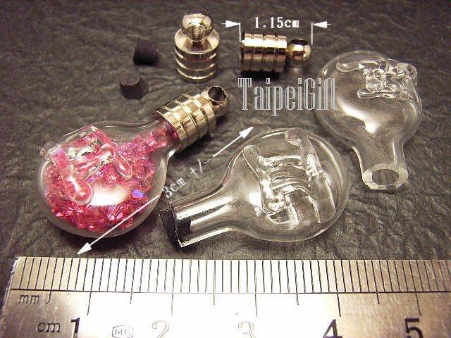1 Gemini Mini Bottle Vial Charm Pendant DIY NAME ON RICE bead Message Crystal Liquid sand Flake