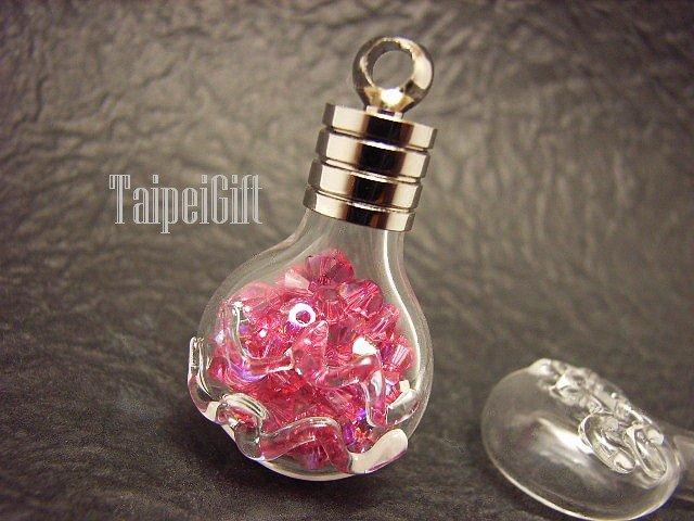Swarovski Crystal Rose AB in Aquarius Astrology Bottle Vial Charm Pendant