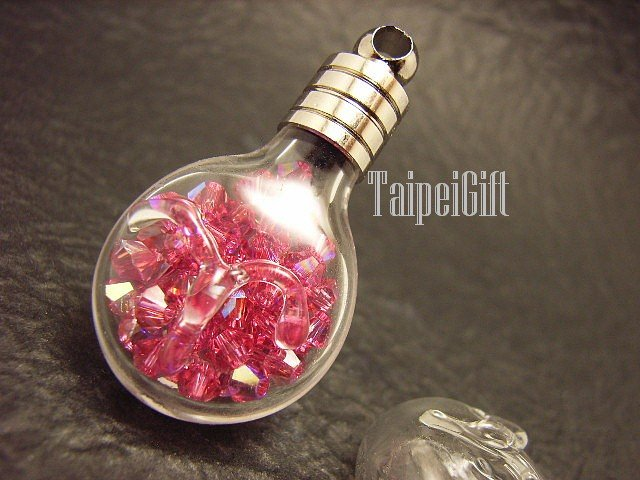 Swarovski Crystal Rose AB in Aries Astrology Bottle Vial Charm Pendant