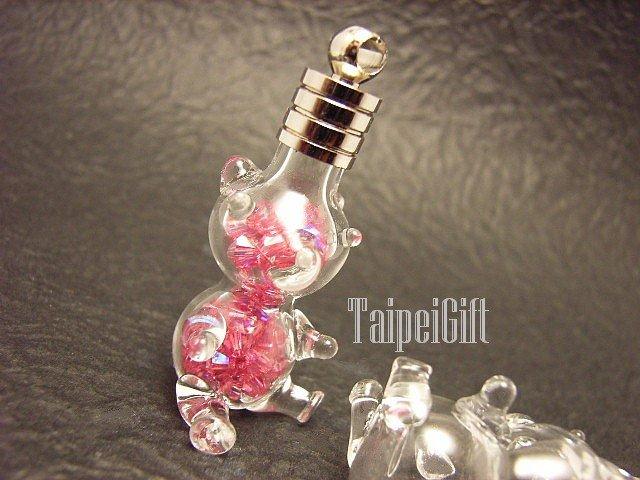 Swarovski Crystal Rose AB in Cub Teddy Bear Bottle Vial Charm Pendant