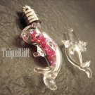 Swarovski Crystal Rose AB in  Dolphin(A) Mini Bottle Vial Charm Pendant