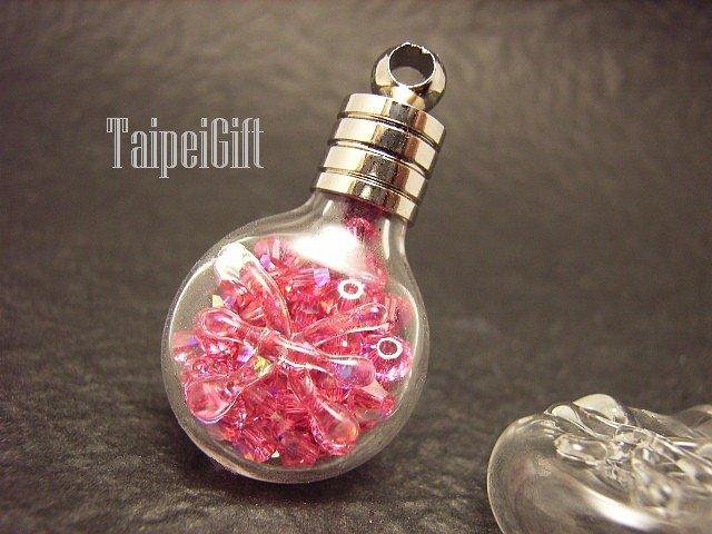 Swarovski Crystal Rose AB in Pisces Astrology Mini Bottle Vial Charm Pendant