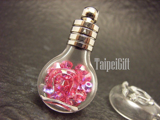 Swarovski Crystal Rose AB in Libra  Astrology Bottle Vial Charm Pendant