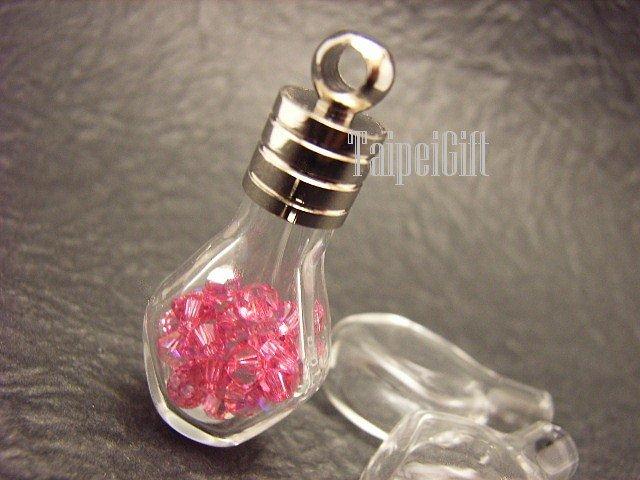 Swarovski Crystal Rose AB in Pentagon Glass Mini Bottle Vial Charm Pendant