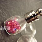 Swarovski Crystal Rose AB in Mini Cube Glass Bottle Vial Charm Pendant