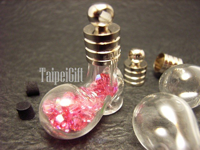 Swarovski Crystal Rose AB in Mini Shoes Glass Bottle Vial Charm Pendant