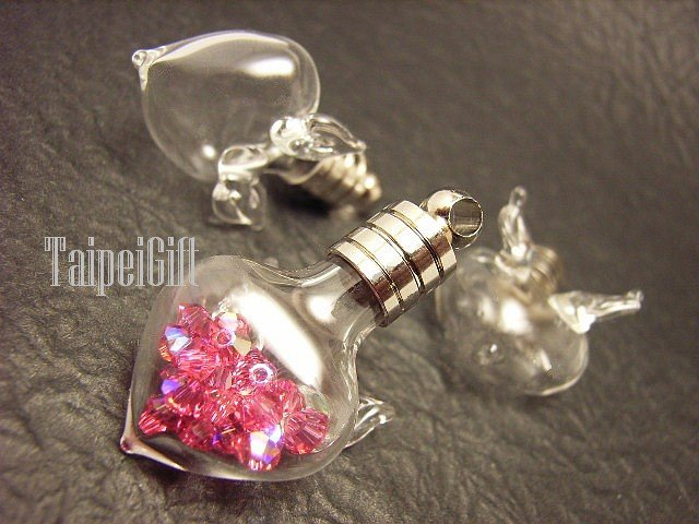 Swarovski Crystal Rose AB in Flying Heart with Wings Bottle Vial Charm Pendant