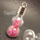 Swarovski Crystal Rose AB in Calabash Glass Bottle Vial Charm Pendant