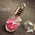 Swarovski Crystal Rose AB in Mini Apple Glass Bottle Vial Charm Pendant