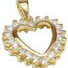 18K Yellow Gold Plated CZ Heart Pendant