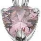 Halle's 18K White Gold Plated Tiffany Solitaire 2 ct Heart Pink CZ Pendant