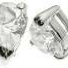 Halle's 18K White Gold Plated Tiffany Solitaire 2 ct Heart CZ Sterling Silver Earrings
